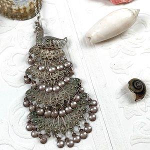 Vintage Spun Sterling Silver Peacock Pendant